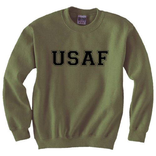 USAF Air Force Crewneck Sweatshirt in Military Green - - Air Sweatshirt Crewneck Force
