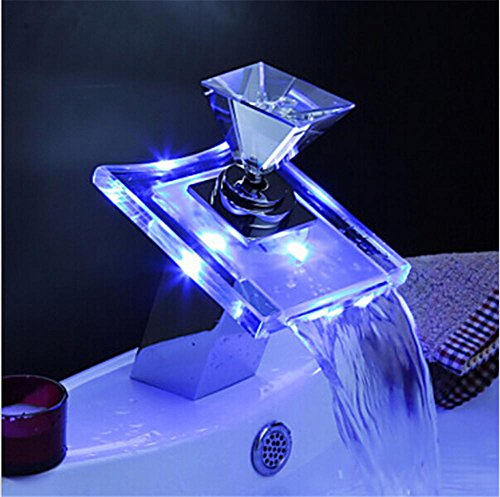 HomJo Luxury Deck Mount Waterfall Basin Faucet LED Color Changing Glass Spout Mixer Tap Chrome Finish (Deck Gooseneck Mount Faucet Nozzle)