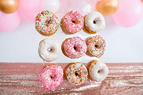 Sweet Details Party Co. Acrylic Donut Wall - Holds up to 18 Donuts - for Centerpiece, Wedding, Birthday Party, Baby Shower, Bachelorette, Dessert Table, Brunch, Bagels