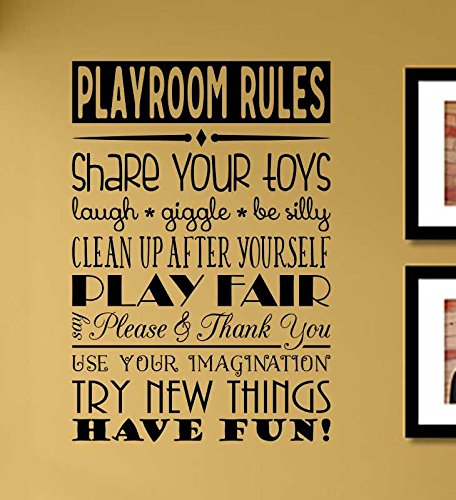 Playroom Rules Share your toys Laugh Giggle Be silly Clean up after yourself Vinyl Wall Art Decal -