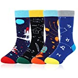 Boy's Novelty Funny Cool Space Cotton Crew Socks 4 Pack with Gift Box