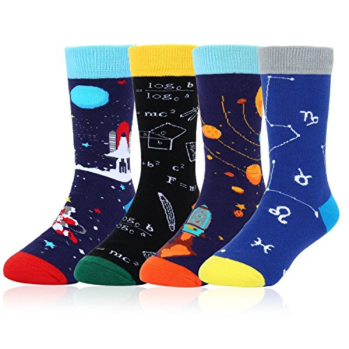 Boys Children Novelty Funny Crew Socks Cool Space Sport Cotton Socks 4 Pack with Gift Box