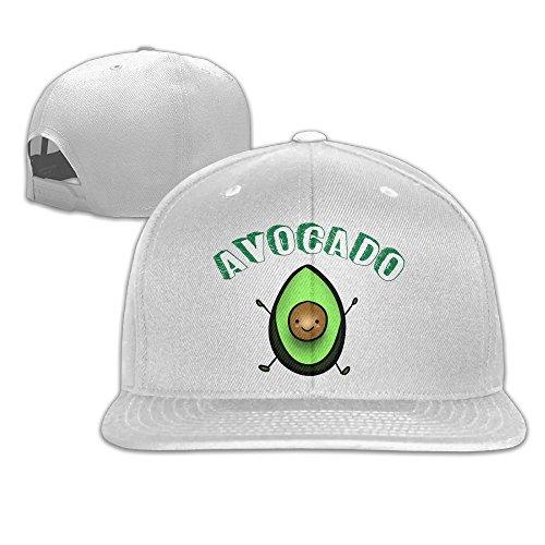 Aiguan Avocado Emoji Flat Visor Baseball Cap, Designed Snapback Hat White