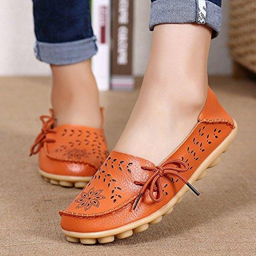 Casual Chaussures Flats Orange Penny De Loisir Mocassins Cuir Femme Ville Bateau Conduite Plates Loafers 3 CUSc4xY