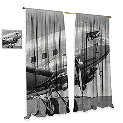 homefeel Vintage Airplane Patterned Drape for Glass Door Old Airliner Cockpit Antique Engine Propellers Wings and Nostalgia Image Waterproof Window Curtain Grey Black
