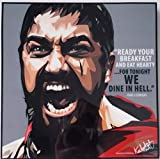 GLAGOODS Sparta 300 King Leonidas Spartans Iconic Movie Cartoon Pop Art Canvas Framed Wall Art Prints Poster Vinyl Gift Quotes