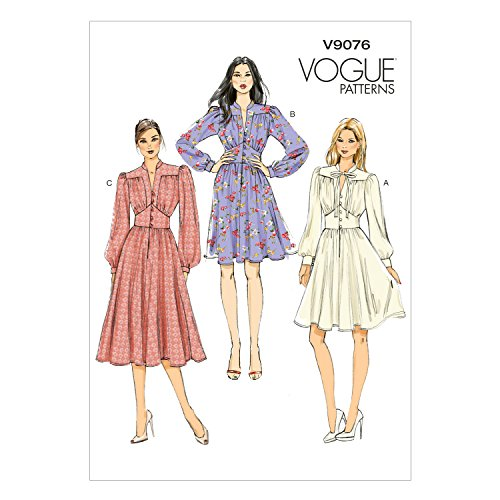 Vogue Patterns V9076 E5 Misses' Gathered Dress with Bishop Sleeves Sewing Pattern, Size 14-22 (9076) 60s Sewing Patterns