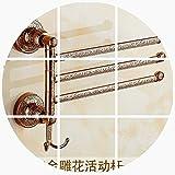 Yomiokla Bathroom Accessories - Kitchen, Toilet, Balcony Bathroom Metal Towel Ring Gold White European Retro Grill White Paint Turn Towel Hook Rose Gold 3 Bar