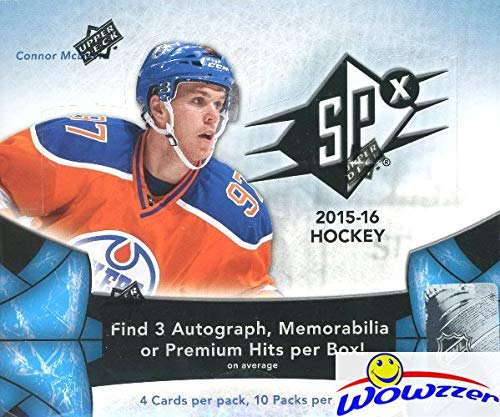 2015/16 Upper Deck SPX Hockey Factory Sealed HOBBY Box with THREE(3) AUTOGRAPH, MEMORABILIA or PREMIUM HITS! Look for Rookies & Autographs of Connor McDavid, Jack Eichel & Many More! WOWZZER! (Deck Memorabilia Upper)
