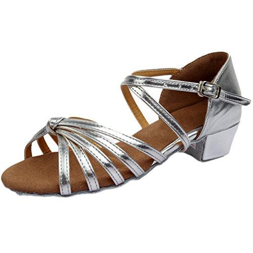 Azbro Mujer Sandalías de Baile Latín de Tacón Bloque Correa Cruzada Puntera Abierta Plateado