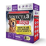 Advecta 3 Flea and Tick Treatment for Dogs - Flea and Tick Medicine for Large Dogs, 4 Doses