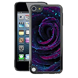 A-type Arte & diseño plástico duro Fundas Cover Cubre Hard Case Cover para Apple iPod Touch 5 (Rose Dew Drops Flower Floral Purple)