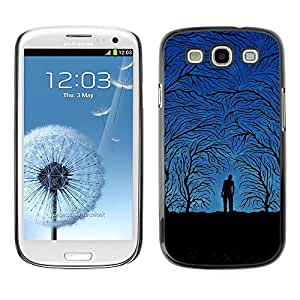All Phone Most Case / Hard PC Metal piece Shell Slim Cover Protective Case for Samsung Galaxy S3 I9300 Forest Grey Autumn Blue Night Trees Man