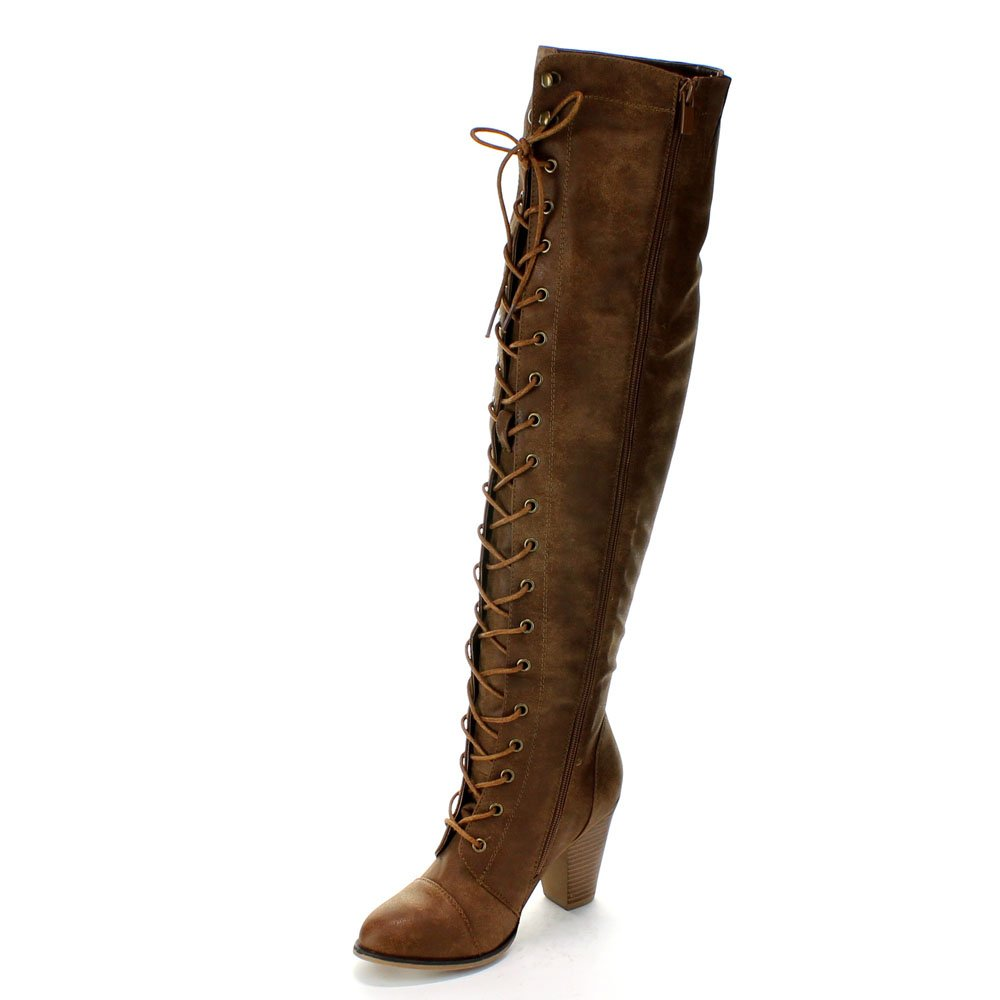bb0bea1591e Forever Womens Chunky Heel Lace up Over-The-Knee High Riding Boots ...