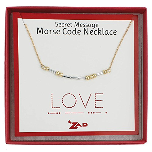 Zen Styles Morse Code Necklace of 'LOVE'- Secret Message Box Chain Necklace, Two-Tone, Adjustable 16