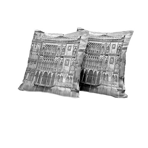 futon Cushion Cover Antique,19th Century Engraving of Grand Canal Venice Monument Landmark Illustration Print,Black White Floral Pillow Covers 16x16 INCH 2pcs