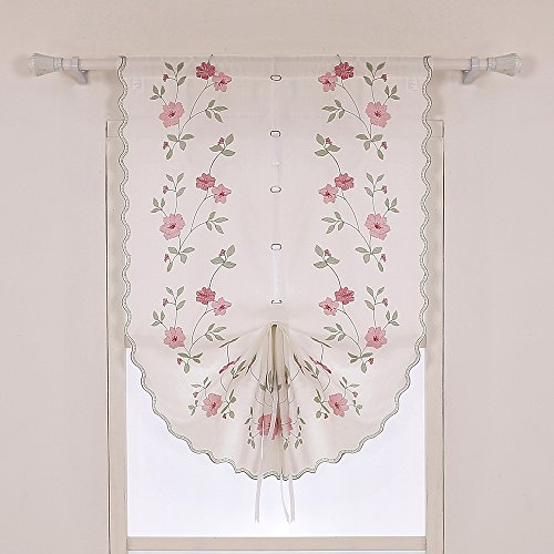 ZHH 1 Panel Polyester Handmade Crochet Flowers Pastoral Style Rustic Tie-Up Balloon Curtain 25-Inch By 57-Inch,Pink by ZHH