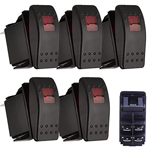 Red Rocker Switch - E Support Car Marine Red LED Toggle Switch Dash 4pin Pack of 5