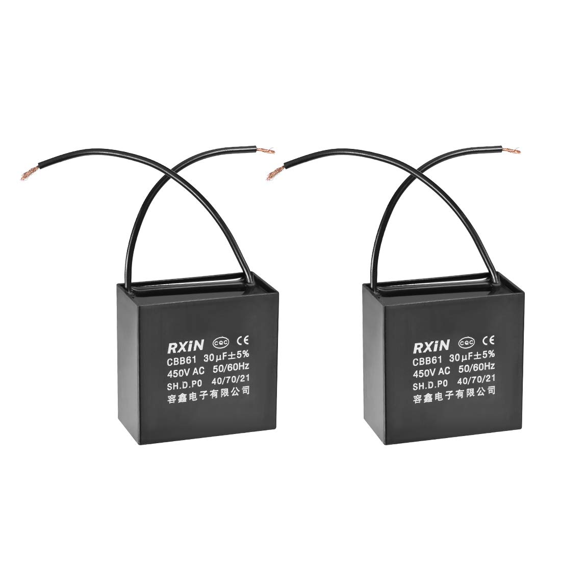 uxcell CBB61 Run Capacitor 450V AC 30uF 2 Wires Metallized Polypropylene Film Capacitors for Ceiling Fan
