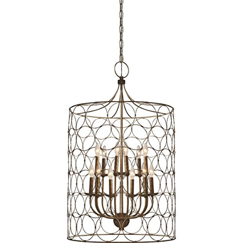 Round Twelve Light Chandelier - Flores Circle Design 12-Light Candle-Style Chandelier Uptown Steel Gold Cage Lamp