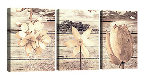 Flower Canvas Wall Art for Living Room Bathroom Wall Decoration 12×16inch×3Panel with Frame Yellow Brown Flowers Prints Painting Ready to Hang Daffodil Peach and Lotus Wall Decor Artwork Plank Background Wall Pictures