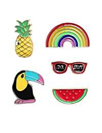 Romanlin Brooch Pins for Women Enamel Alloy Badges Lapel Pin Corsage Pin for Gift Pineapple Rainbow Colors
