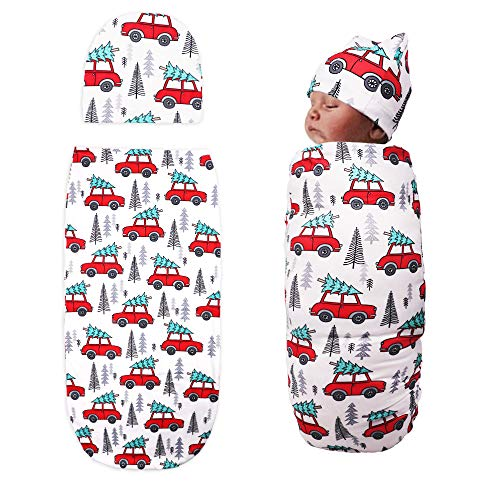 TIANNUOFA Newborn Swaddle Blanket with Beanie Set,Soft Stretchy Cocoon Sack for 0-3 Months Baby Boys and Girls(Car and Cedar)
