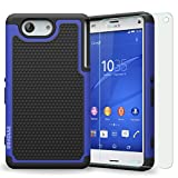 Sony Xperia Z3 Mini / Z3 Compact Case, INNOVAA Smart Grid Defender Armor Case W/ Free Screen Protector & Touch Screen Stylus Pen - Black/Blue