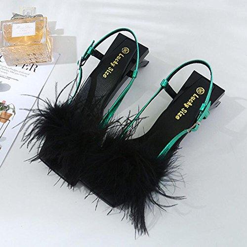 Scarpe corte Rosso Ladies Womens Decor cinturino Green alti da Novità Piuma con Geometria con alla PU caviglia Verde Sandali estivi tacchi Pompe GAOLIXIA UadRwxU