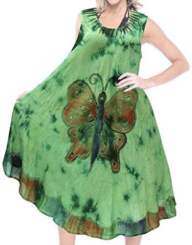 LA LEELA Rayon Lounge Maternity Maxi Wedding tankbridal Resort Party Luau Coverup Cocktail Tie Dye Green