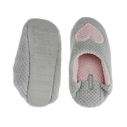 Women Indoor Slip-on Soft Cotton Warm Fleece Anti-skid Waterproof Sole Slippers Cozy Home Footwear Shoes Gray Love C0iXKI6e