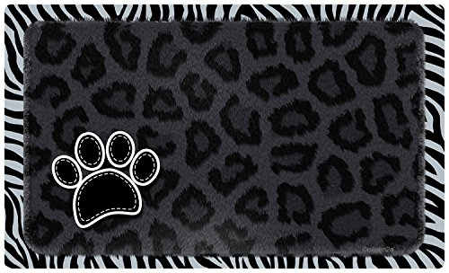 Placemat Drymate (Drymate Pet Bowl Place Mat in Furtitude, 12 by 20-Inch, Leopard, Black)