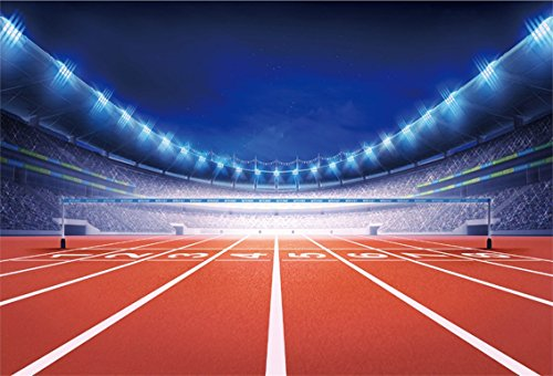 CSFOTO 7x5ft Background for Athletics Stadium with Race Track Finish View Photography Backdrop Sport Glowing Light Match Competition Illuminated Field Photo Studio Props Polyester Wallpaper