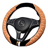 Steering Wheel Cover,Car Steering Wheel Cover Genuine Leather, Universal 15 Inch Fit, Anti-Slip & Odor-Free,Universal Fit, Easy Installation
