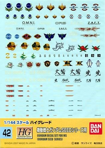 [해외]1144 건담 데 칼 SEED (42) / 1144 Gundam Decal for SEED (42)