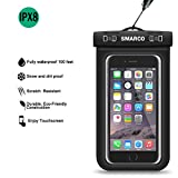 SMARCO Waterproof Bag, Touch-Screen Clear Window PVC Pouch, Snap ABS Lock for Apple iPhone 6S 6,6S Plus, Samsung Galaxy S7, S6, HTC LG Sony Nokia Motorola up to 6.0