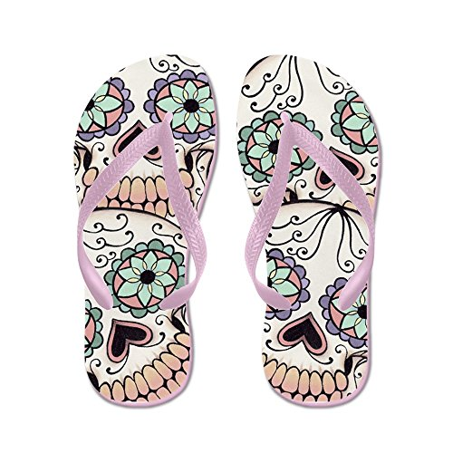 Cafepress Day Of The Dead Skull Flip Fl - Chanclas, Sandalias Thong Divertidas, Sandalias De Playa Rosa