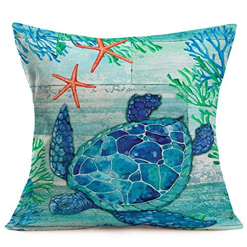 Aremetop Sea Turtle Pillow Covers Cotton Linen Ocean Sea Beach Marine Animal Starfish Coral Decorative Turquoise Cushion Cover 18''x18'' Square Accent Throw Pillow Case for Sofa Couch Decor (Starfish Cushion)