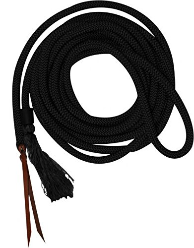 Mecate Rein - Showman 23' Round Braided Nylon Mecate Reins w/Leather Ends! NEW HORSE TACK! (Black)