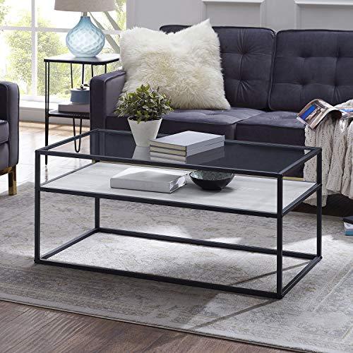 Modern Reversible Shelf Coffee Table with Reversible Lower Shelf - White Faux Marble/Dark Concrete -
