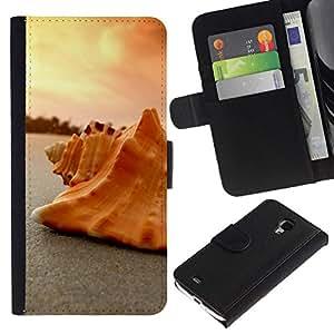 NEECELL GIFT forCITY // Billetera de cuero Caso Cubierta de protección Carcasa / Leather Wallet Case for Samsung Galaxy S4 Mini i9190 // Seashell Arena
