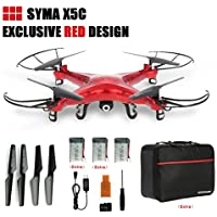 Syma X5C Drone with 2.0MP HD Camera 3D Flips & High/Low Speed & Left/Right Mode RC Quadcopter, Extra Two Batteries & GoolRC Nylon Handbag