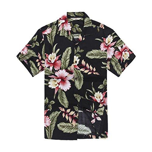 Hawaii Hangover's Men's Hawaiian Shirt Aloha Shirt M Black Rafelsia Floral Luau Aloha Shirt