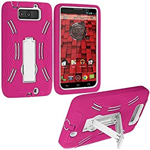 Accessory Planet(TM) Hot Pink / White Heavy Duty Hybrid Hard/Soft Silicone Case Cover with Stand Accessory for Motorola Droid Ultra XT1080