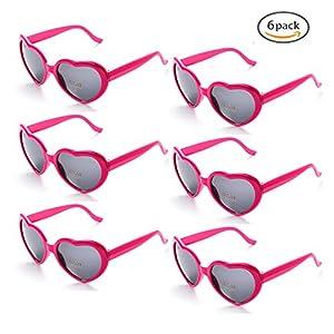 Onnea 6 Neon Colors Heart Shape Party Favors Sunglasses, Multi Packs (6-Pack Hot Pink)