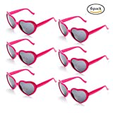 Onnea 6 Neon Colors Heart Shape Party Favors Sunglasses, Multi Packs (6-Pack Hot Pink)
