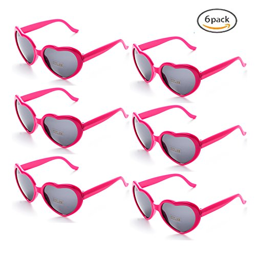 Onnea 6 Neon Colors Heart Shape Party Favors Sunglasses, Multi Packs (6-Pack Hot Pink) by Onnea