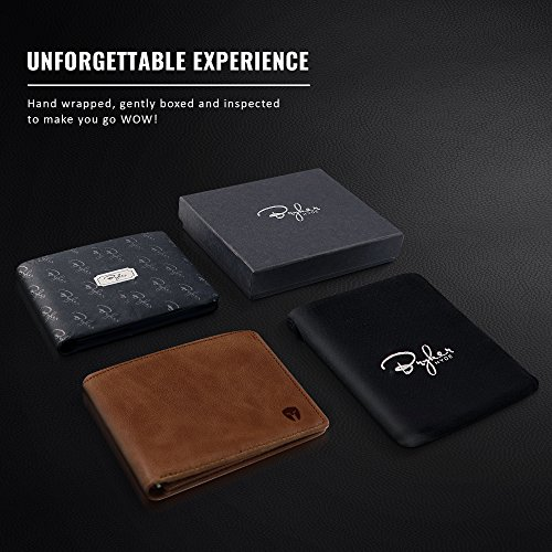 2 ID Window RFID Wallet for Men, Bifold Top Flip, Extra Capacity Travel Wallet (Brown - Distressed Leather, Medium)