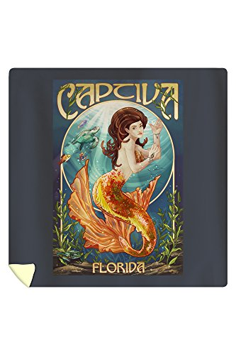 Lantern Press Captiva, Florida - Mermaid 45529 (88x88 Queen Microfiber Duvet Cover)