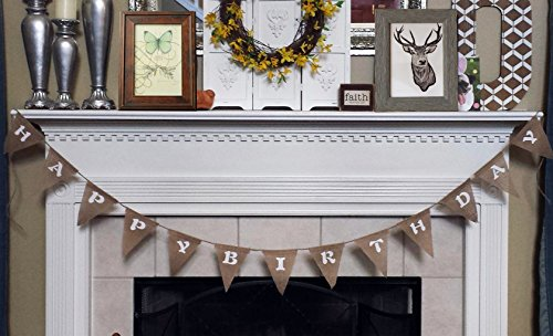 Langxun Happy Birthday Burlap Banner | Birthday party Decorations Streamers (Brown Streamer)
